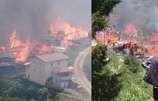 Artvin'de bir köy yanıyor Evler küle döndü