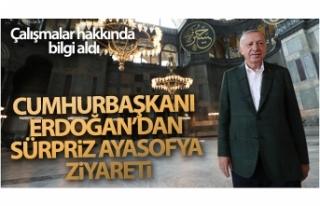 Cumhurbaşkanı Erdoğan Ayasofya Camii'nde incelemelerde...