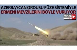 Azerbaycan ordusu füze sistemiyle Ermeni mevzilerini...