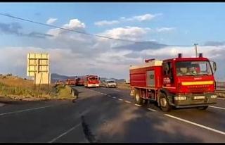 Azerbaycan'dan gelen itfaiye konvoyu Eskişehir'den...