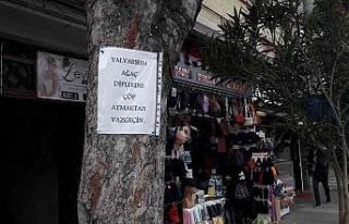 Ağaca astığı notla insanlara çöp atmamaları...