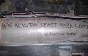 Barış Pınarı Harekatı'nda bombanın üzerine 'Devlet Baba hoş geldin' yazıldı.