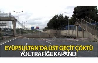 Hasdal Otoyolu'nda üstgeçit çöktü, yol trafiğe kapandı