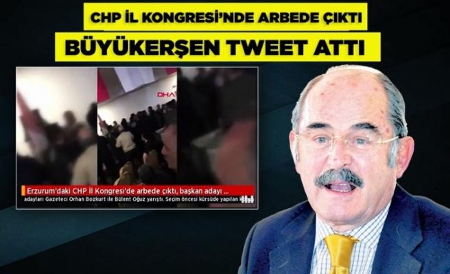 CHP İl Kongresi'nde arbede çıktı, Büyükerşen tweet attı