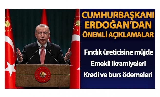 Cumhurbaşkanı Erdoğan: 'Bu bayramda altıncı defa 12,4 milyon emeklimize biner lira bayram ikramiyelerini ödüyoruz'