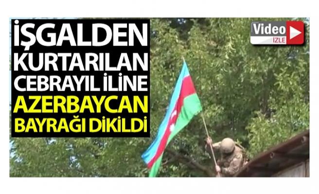 Ermenistan işgalinden kurtarılan Cebrayıl iline Azerbaycan bayrağı dikildi
