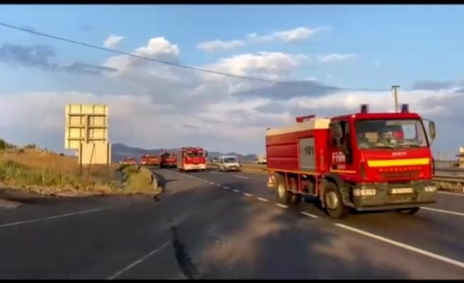 Azerbaycan'dan gelen itfaiye konvoyu Eskişehir'den geçti