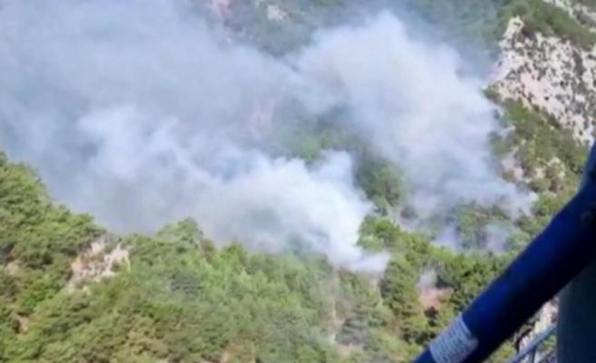 Kazdağları'nda yangın! 4 helikopter müdahale ediyor, 2 yangın söndürme uçağı yolda