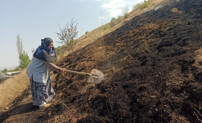 Yaşlı kadın evine yaklaşan ot yangınına böyle müdahale etti