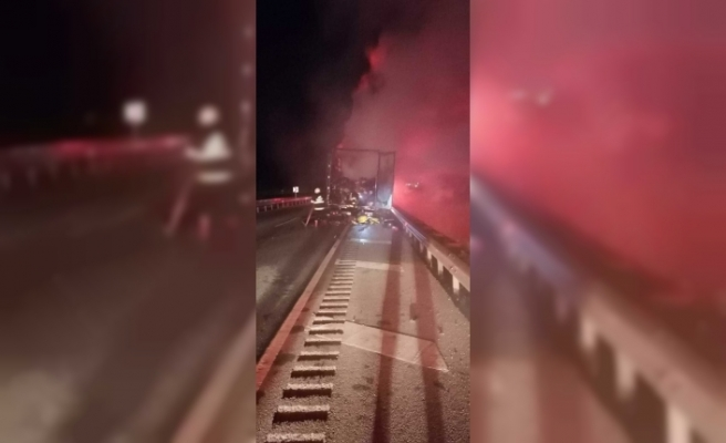 Kargo taşıyan kamyon alev alev yandı, içindekiler kullanılamaz hale geldi