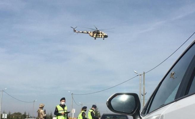 Helikopter destekli trafik denetimde 35 sürücüye ceza yazıldı