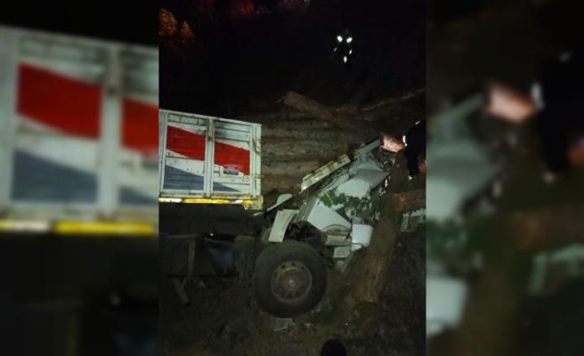 Tomrukların altında kalan kamyon şoförü hayatını kaybetti