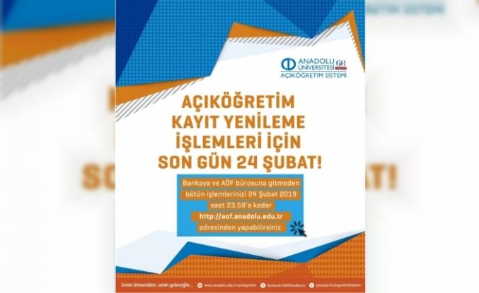 Anadolu Üniversitesi Açıköğretim Sistemi kayıt yenileme işlemleri iki gün uzatıldı